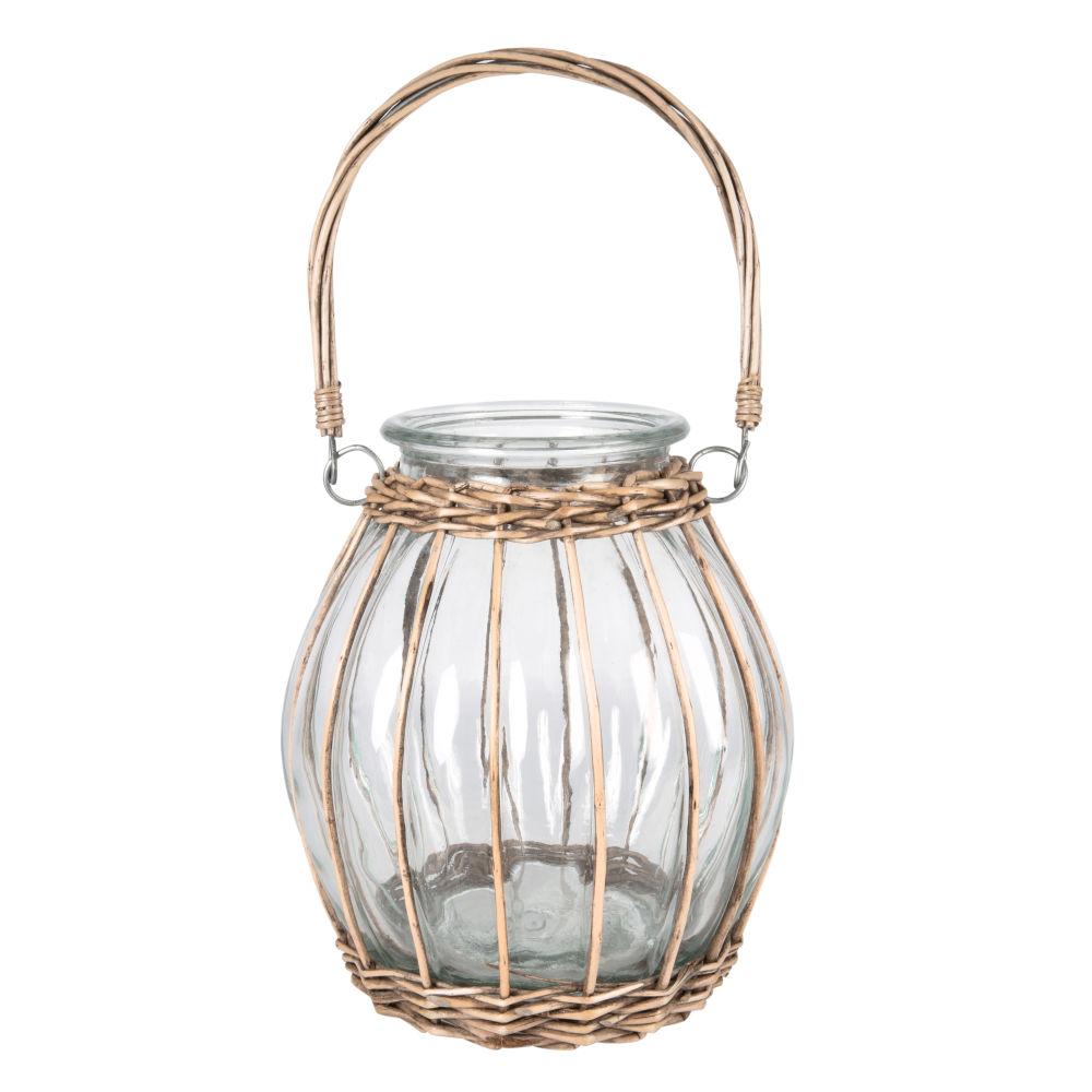 Laterne aus Glas und Seil