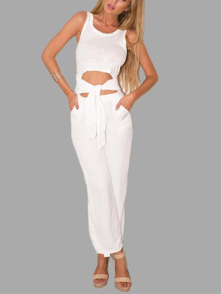 Yoins White Sleeveless Self-tie Jumpsuit with Round Neck