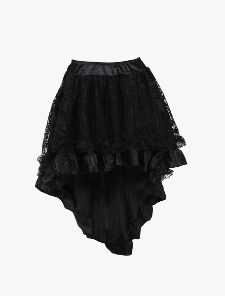 Milanoo 1950s Vintage Petticoat Tutu Crinoline Underskirt Black High Low Skirt For Woman