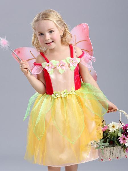 Milanoo Kids Halloween Costume Girls Yellow Genie Organza Classic Dresses Halloween