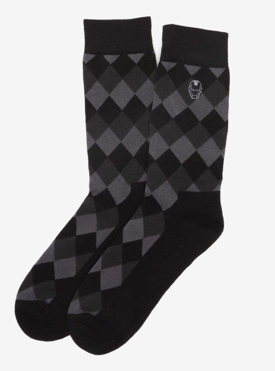Marvel Iron Man Argyle Black Socks