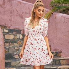 D&M Kleid mit Ruesche, Raffungsaum, geraffter Taille und Kirsche Muster