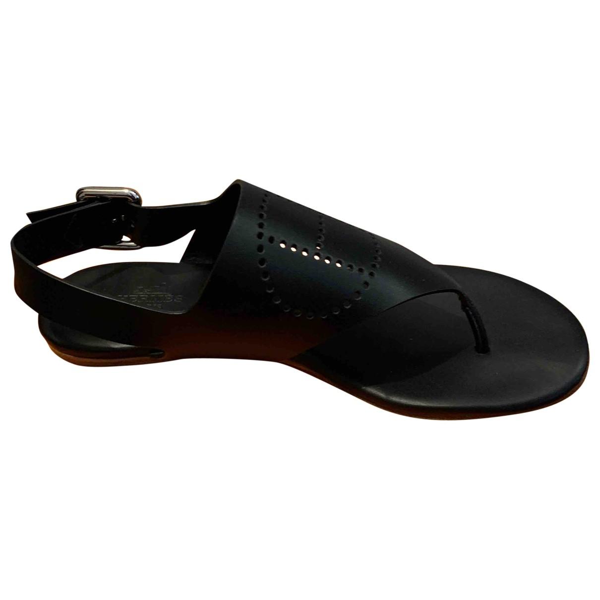 Hermès \N Black Leather Sandals for Women 36 EU