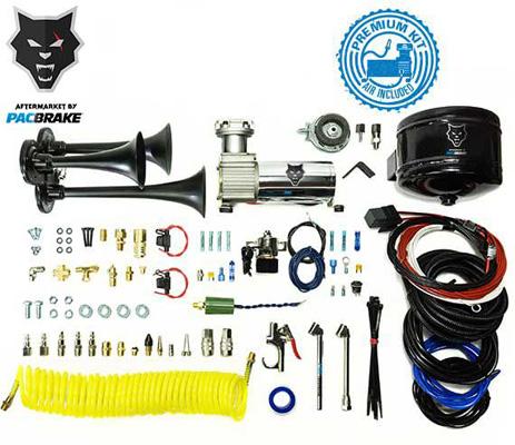 Pacbrake HP10237 Premium Trio Air Horn Kit W/Air Horn Kit (HP10235) And Onboard Air Kit (HP10163)Matte Black