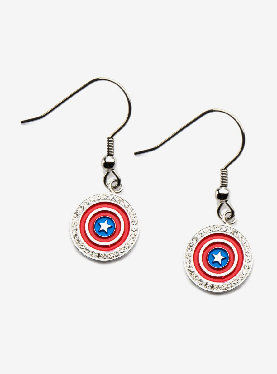 Marvel Captain America Red and Blue Shield Earrings