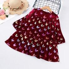 Samt Kleid mit Schmetterling Muster