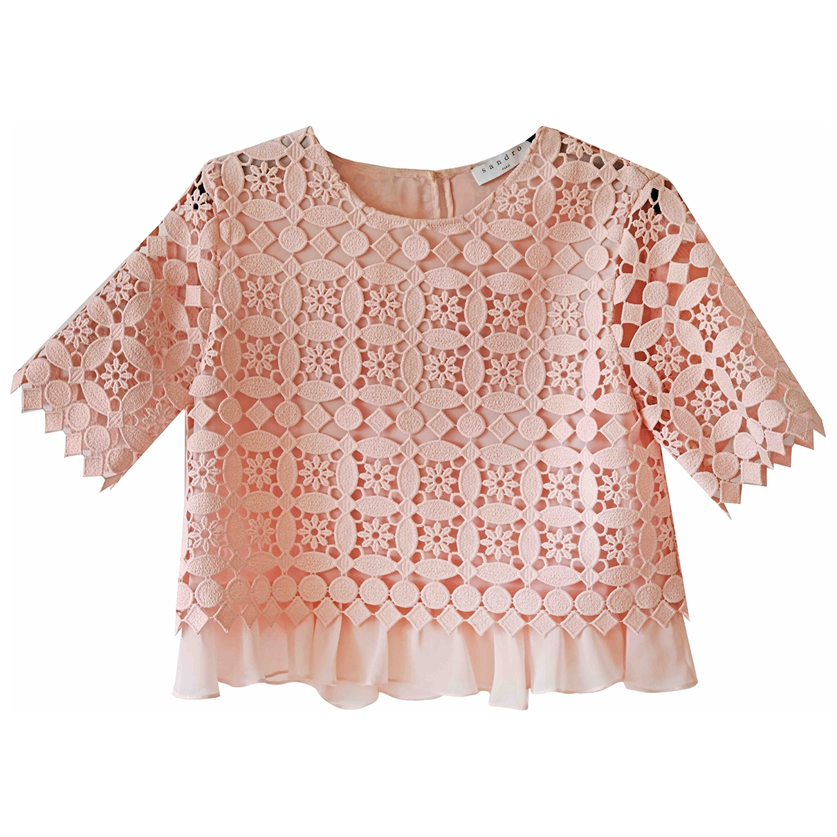 Sandro Spring Summer 2019 Pink Lace  top for Women S International