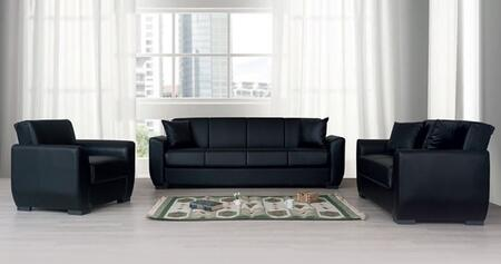 Lola Collection LOLASOFASET 3 PC Living Room Set with Sofa  Loveseat and Chair in Black