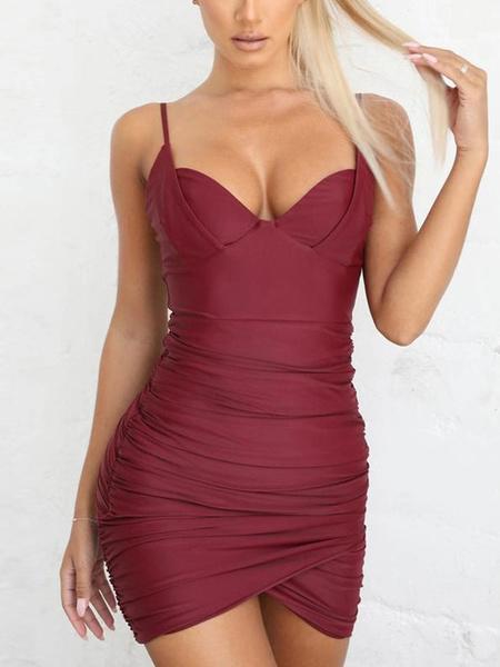 Milanoo Sexy Club Dress Bra Top Ruched Sleeveless Backless Sheath Dress