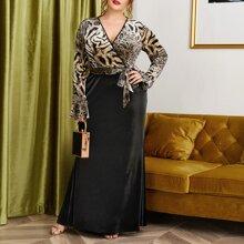Plus Leopard Print Belted Velvet Dress