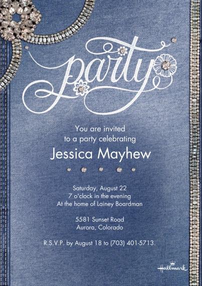 Wedding Shower Invites 5x7 Cards, Standard Cardstock 85lb, Card & Stationery -Denim and Diamonds