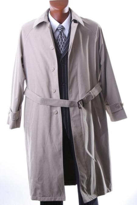 Mens Taupe Full Length All Year Round RaincoatTrench Coat