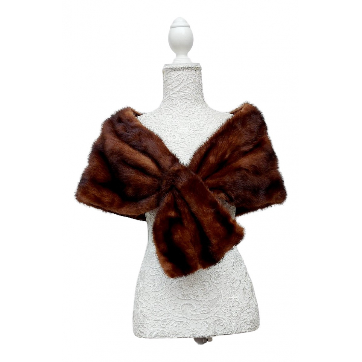 Non Signé / Unsigned N Brown Mink scarf for Women One Size IT