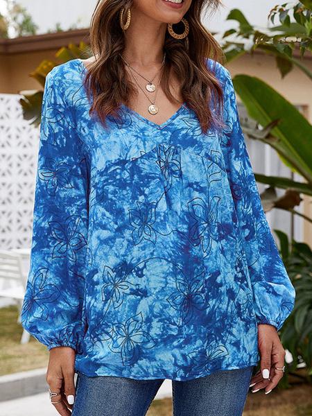 Milanoo Tie Dye Top Jewel Neck Casual Long Sleeves Tops