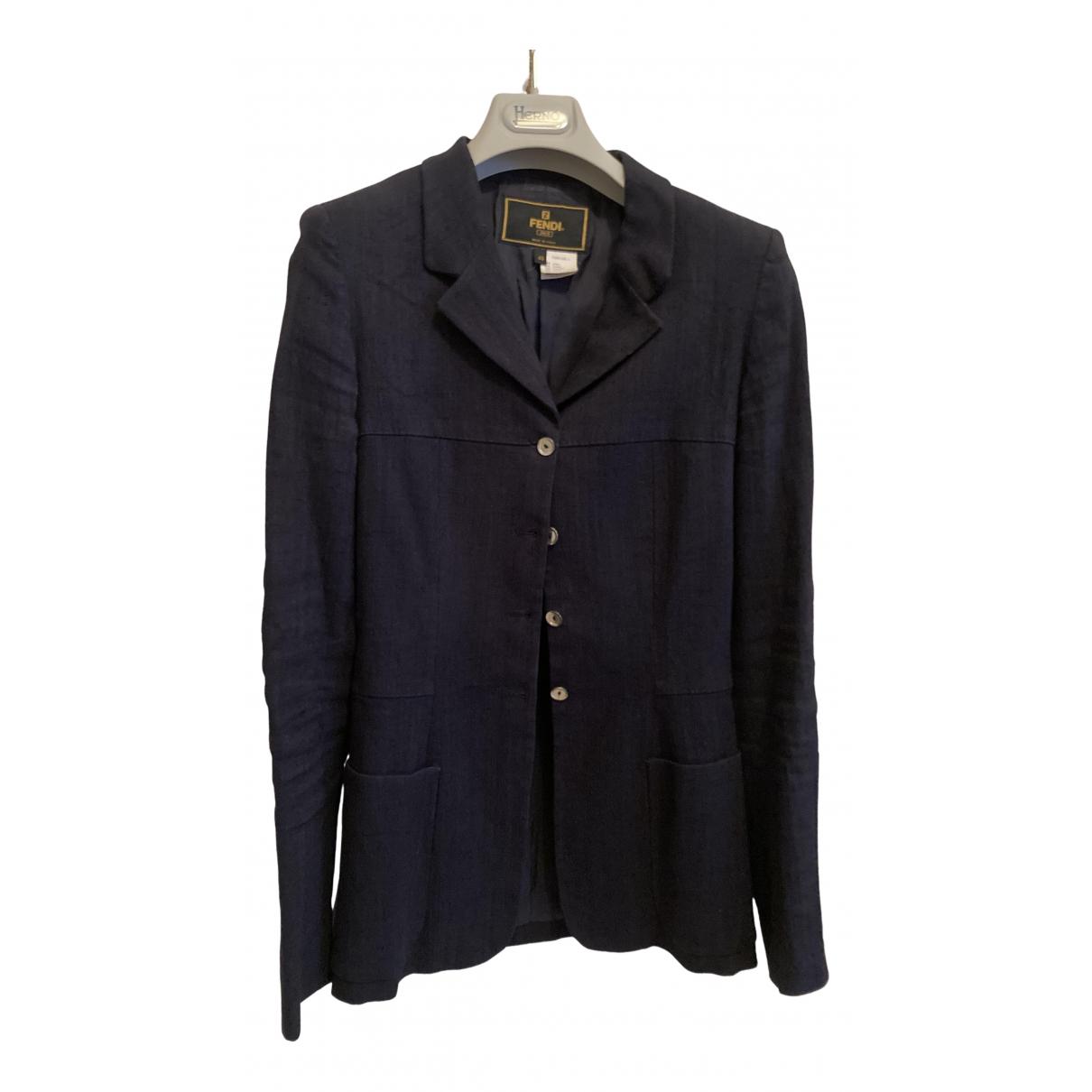 Fendi N Blue Linen jacket for Women 40 IT