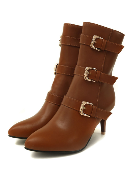 Milanoo Women Ankle Boots Deep Brown Pointed Toe Buckle Detail Vintage Boots