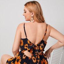 Cami Romper mit Sonnenblumen Muster, Band und offener Rueckseite