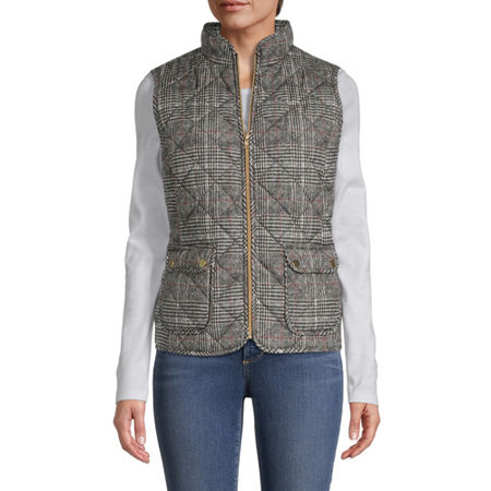 St. John's Bay Quilted Vest, Large , Brown