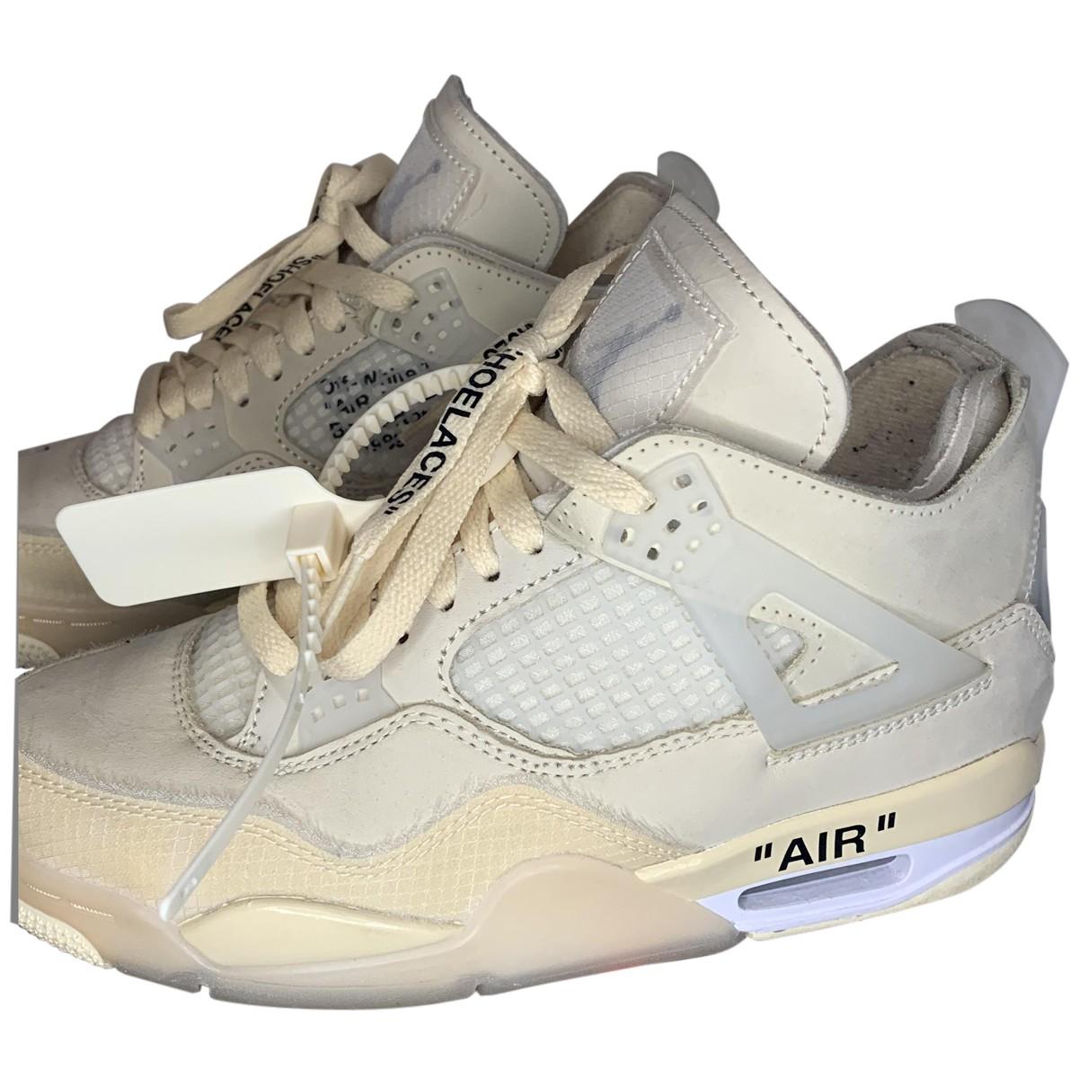 Nike X Off-white - Baskets Air Jordan 4 pour femme en cuir - beige