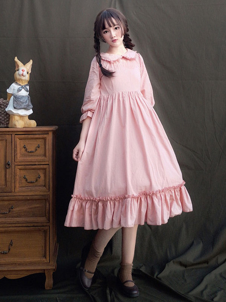 Milanoo Sweet Lolita OP Dress Cotton Ruffle Pink Lolita One Piece Dress