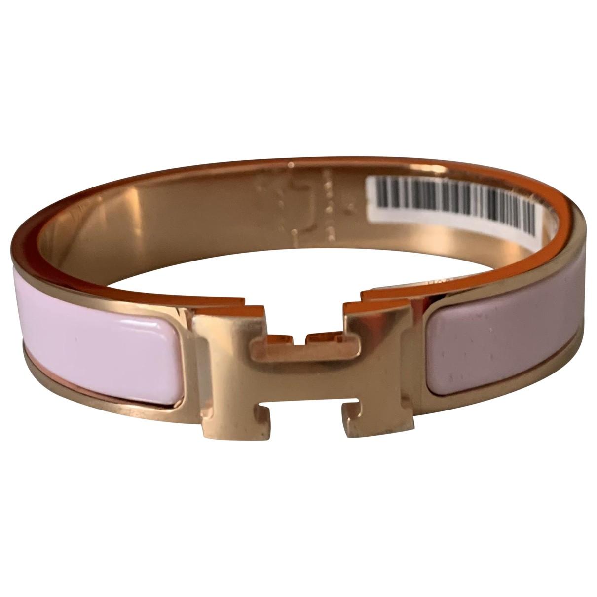 Hermes - Bracelet Clic H pour femme en metal - rose