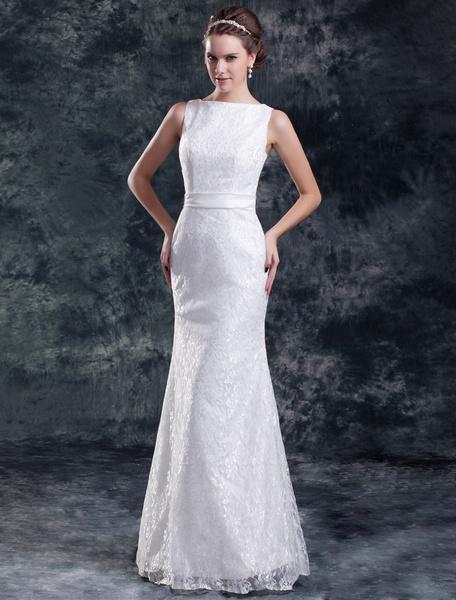 Milanoo Elegante vestido de novia blanco con encajes y cuello en V