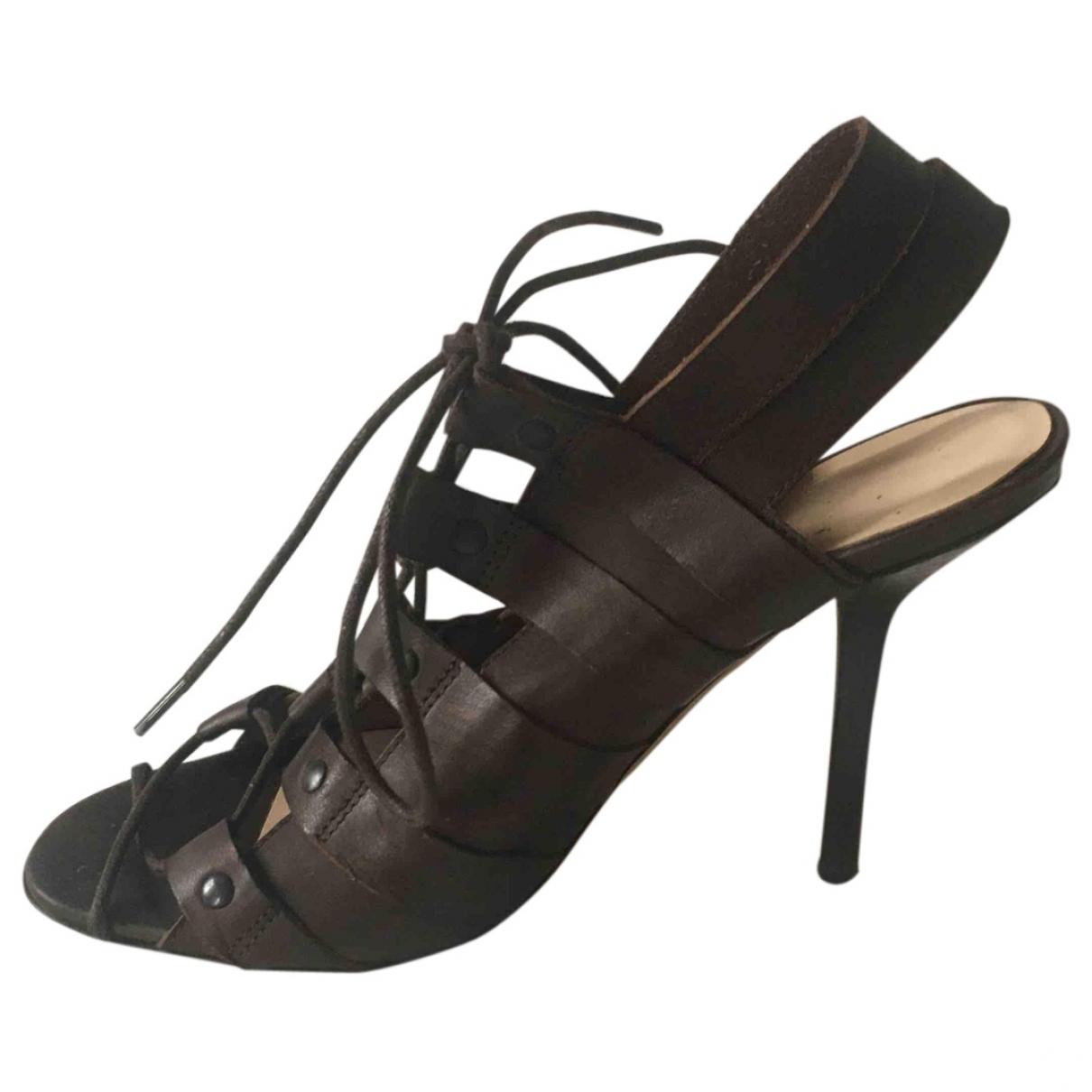 Jean Paul Gaultier - Sandales   pour femme en cuir - marron