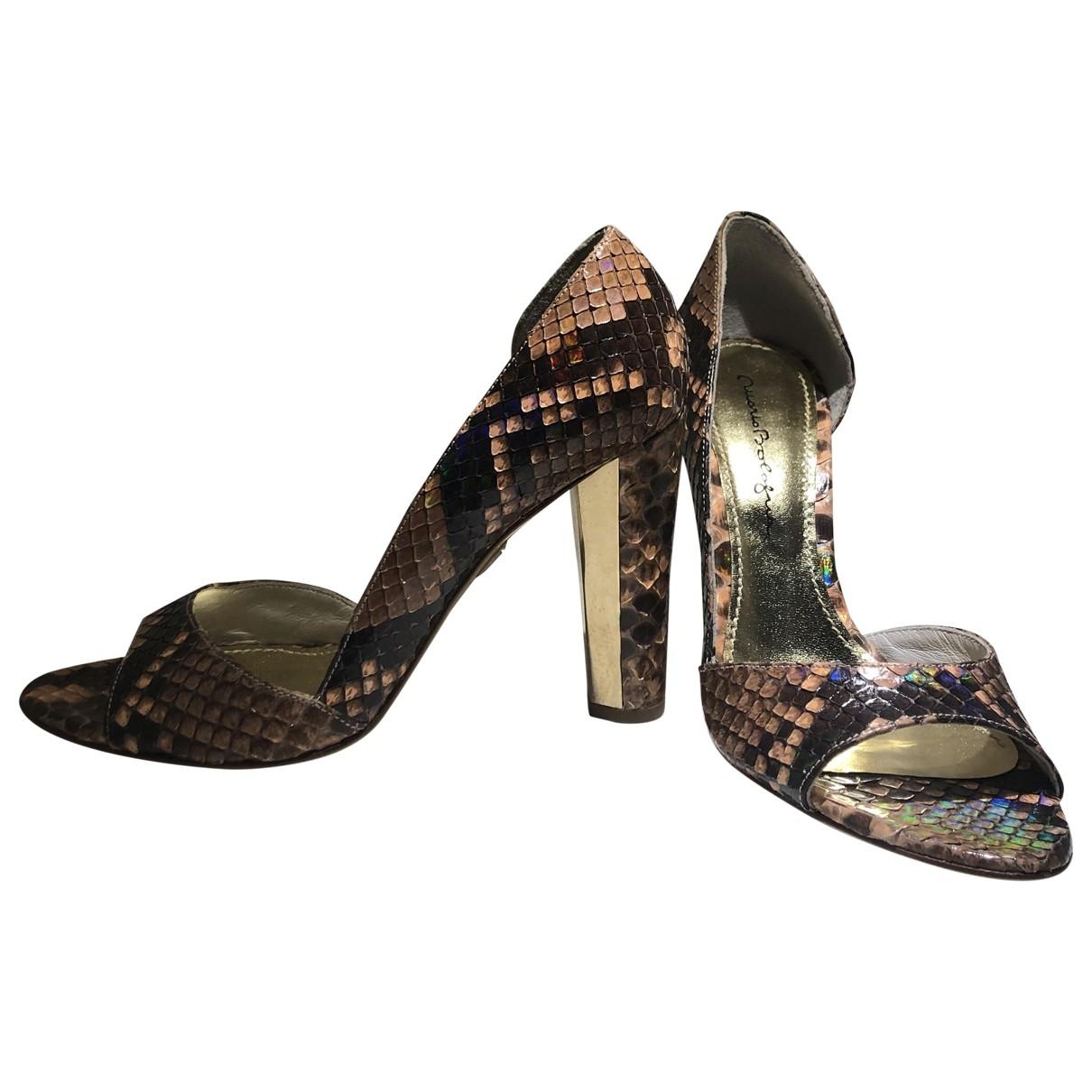 - Sandales   pour femme en cuir - rose