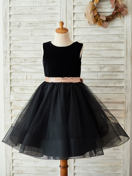 Milanoo Flower Girl Dresses Bows Sleeveless Jewel Neck Black Formal Kids Party Dresses