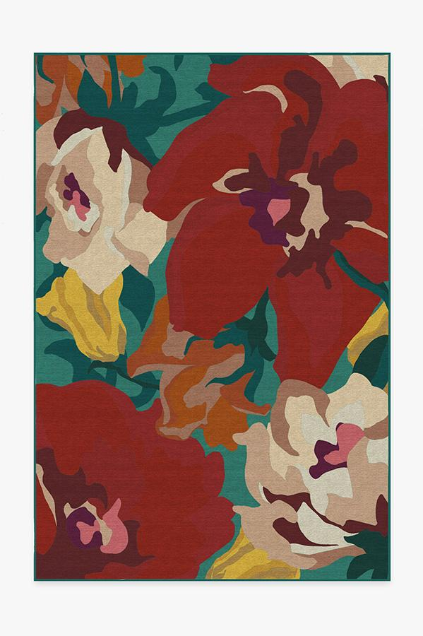 Washable Rug Cover | Poppy Floral Turquoise Rug | Stain-Resistant | Ruggable | 6'x9'