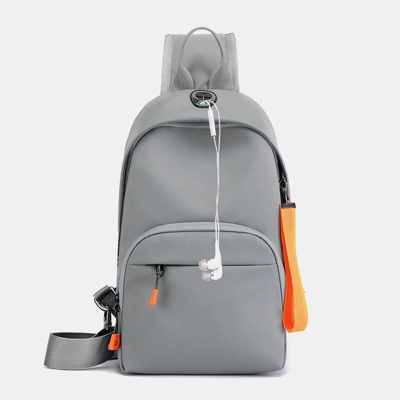 Men Nylon Earphone Hole Waterproof Outdoor Crossbody Bag Chest Bag Sling Bag