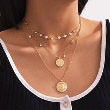 3pcs Rhinestone Coin Layered Necklace