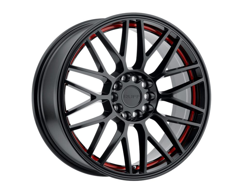 RUFF Overdrive Wheel 17x7.5 5x108 38mm Gloss Black W/Red Inner Lip