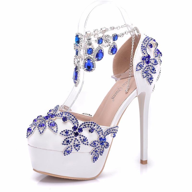 Ericdress Rhinestone Platform Stiletto Heel Line-Style Buckle Wedding Shoes