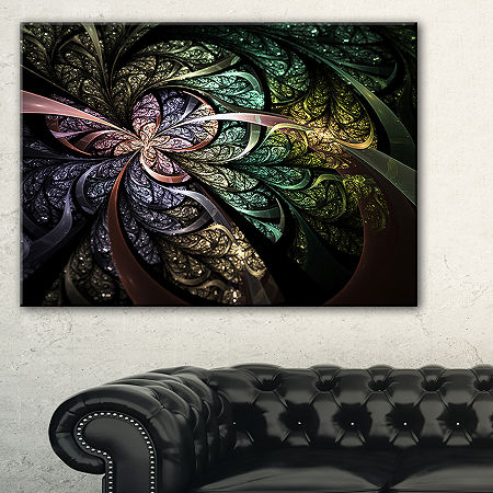 Designart Brown Blue Fractal Flower Digital Art Floral Canvas Art Print, One Size , Green