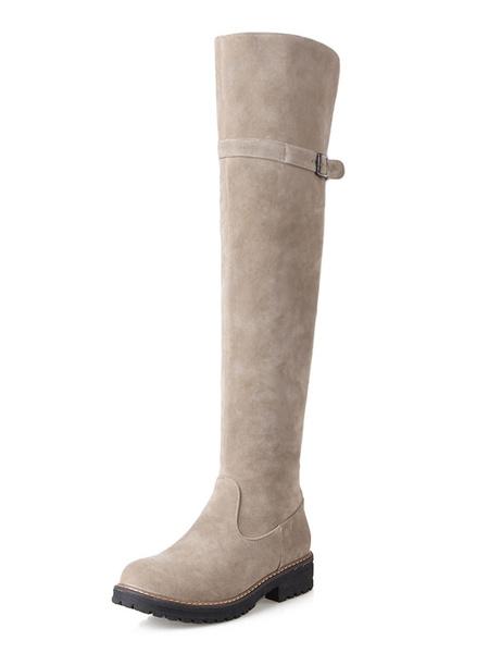 Milanoo Thigh High Boots Womens Monogram Suede Round Toe Flat Heel Over The Knee Boots