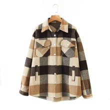Gingham Flap Pocket Button Through Overcoat