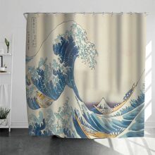 The Great Wave off Kanagawa Print Shower Curtain With 12hooks