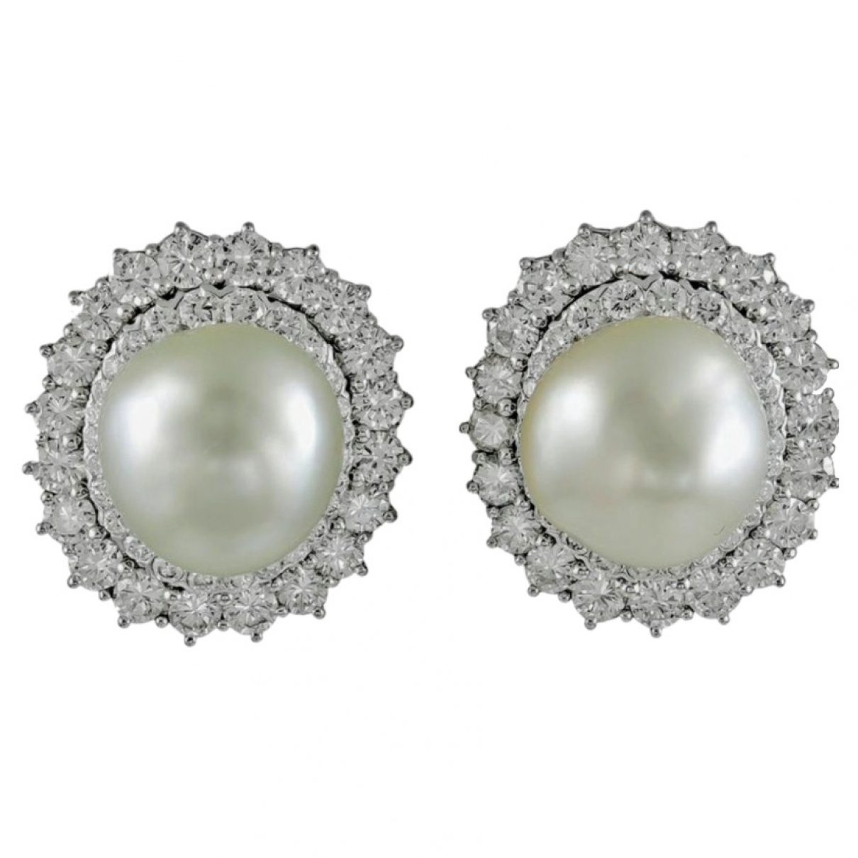Non Signé / Unsigned \N White Pearl Earrings for Women \N