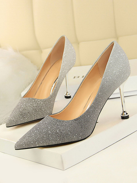 Milanoo Glitter Prom Heels Pointed Toe Stiletto Heel Pumps Party Shoes