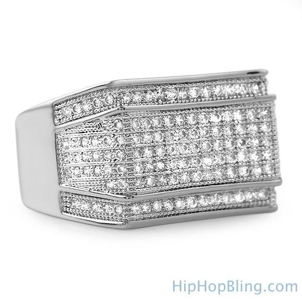 Imperial Rhodium CZ Hip Hop Ring