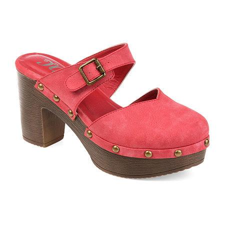 Journee Collection Womens Saige Clogs Slip-on Round Toe, 9 Medium, Red