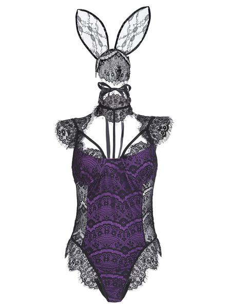 Milanoo Black Sexy Bunny Costume For Women Lace Jumpsuit Halloween Costume