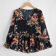 Plus Floral Print Belted Babydoll Blouse
