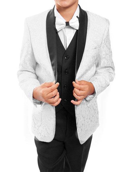 Kids ~ Children ~ Boys ~ Toddler Tuxedo Vested Suit White/Black