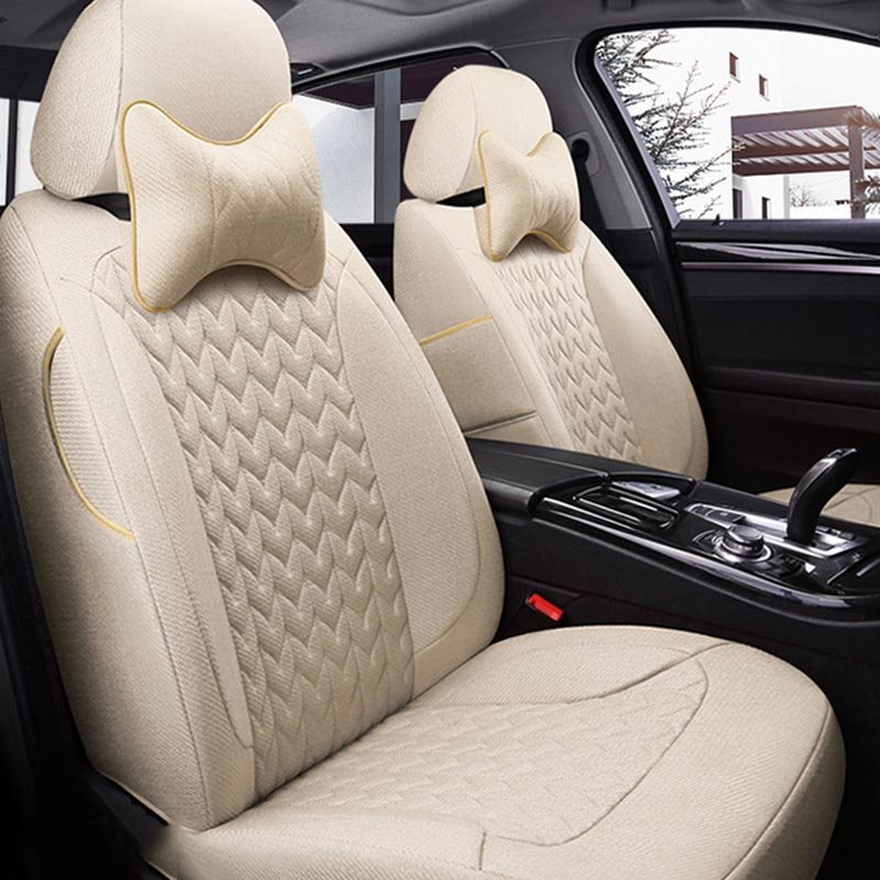 5 Seats Custom Fit Seat Cover Environmentally Friendly Healthy Flax Materials Wear Resistance Scraping Resistance No Peculiar Smell Most Models Are Cu