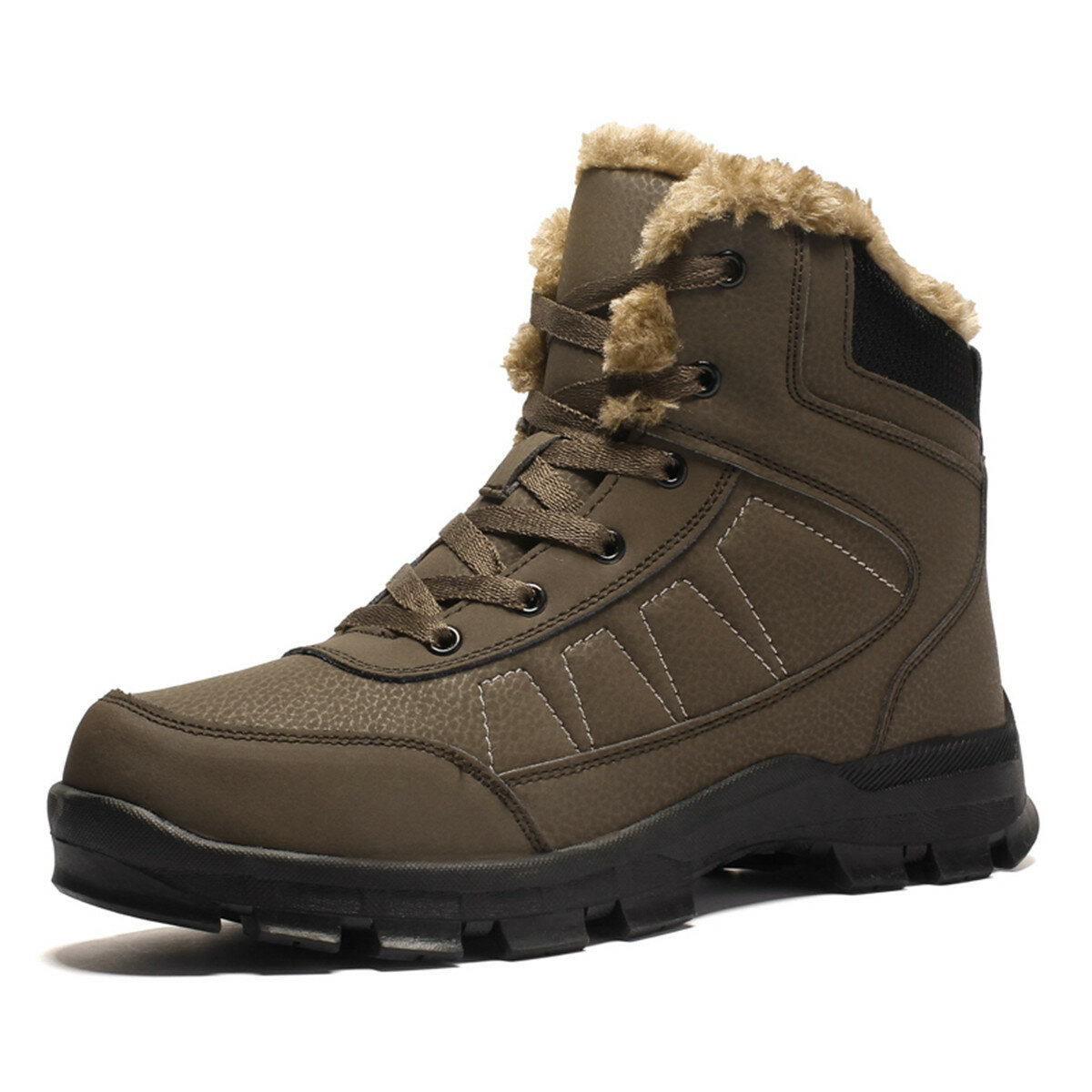 Men Warm Plush Lining Outdoor Slip Resistant Casual Microfiber Leather Boots