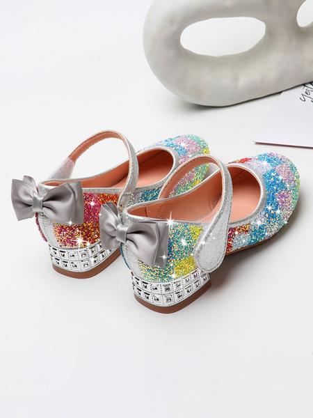 Milanoo Zapatos de desfile de niña Zapatos de fiesta con lazos de punta redonda con lentejuelas rosas
