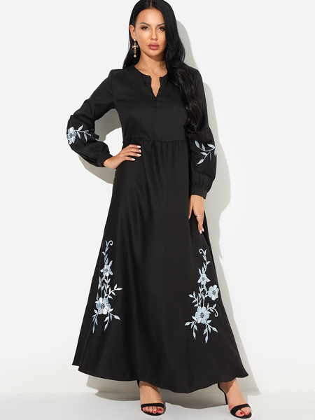 Yoins Black Floral Embroidered Puff Sleeves Zipper Front Maxi Dress
