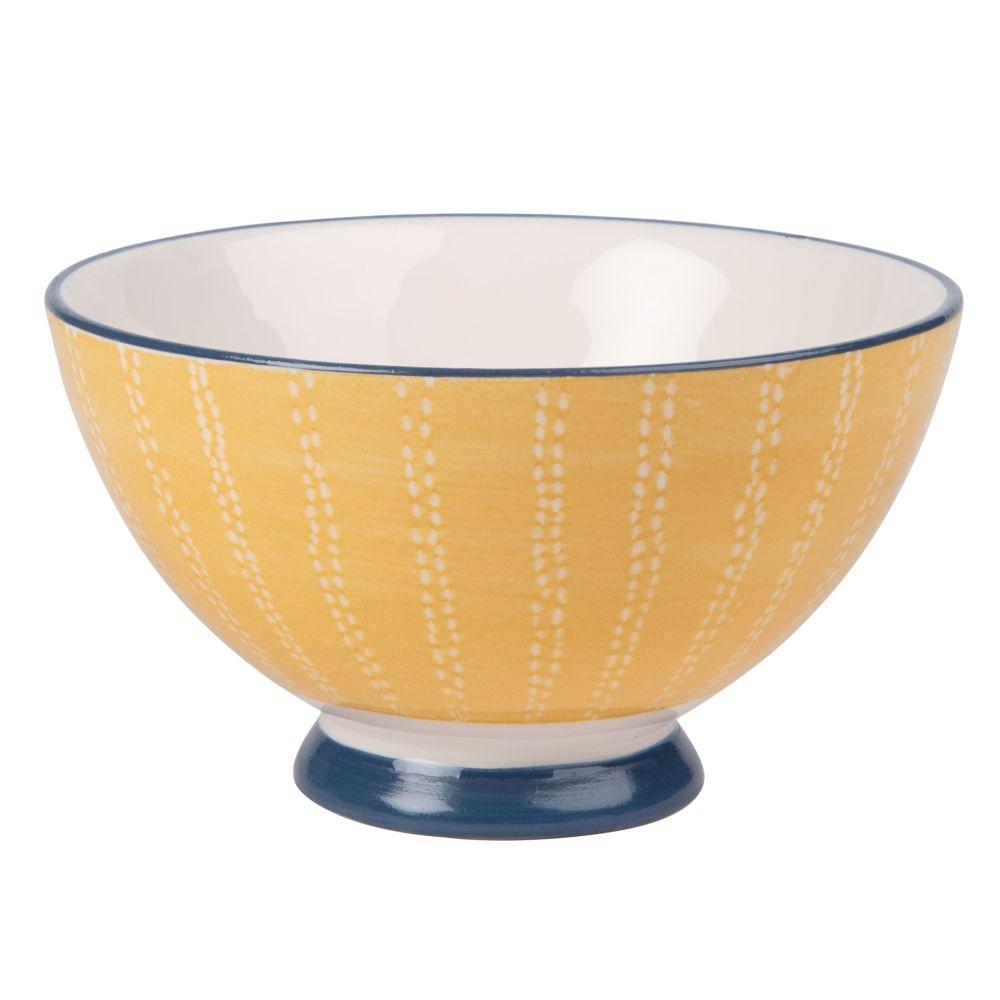 Schale aus Fayence, bedruckt, blau und gelb